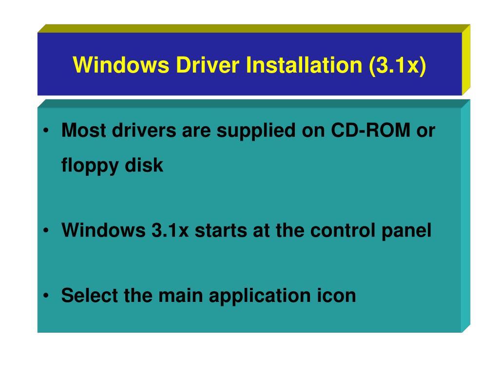 Windows Driver Installation (3.1x)