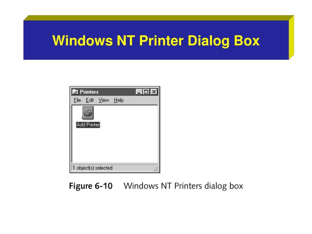 Windows NT Printer Dialog Box