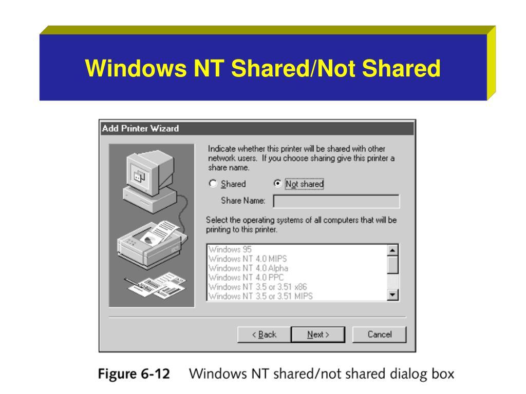 Windows NT Shared/Not Shared