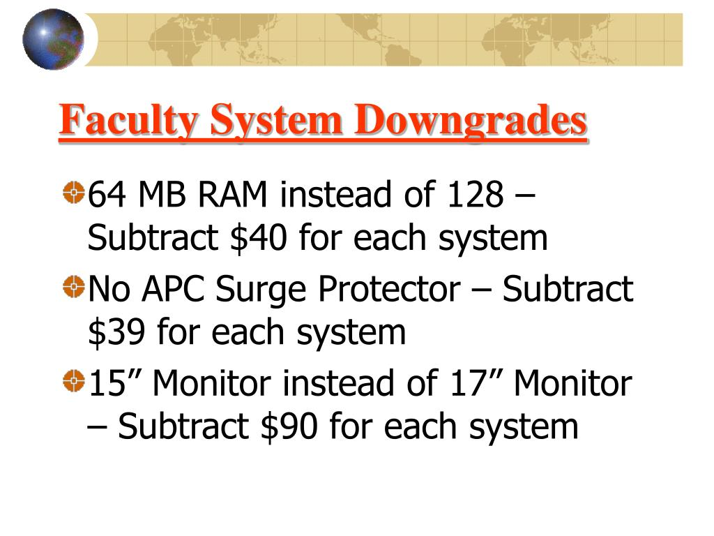 Faculty System Downgrades