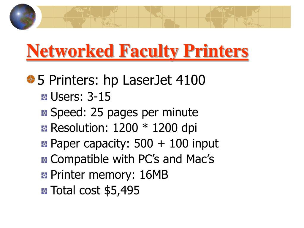 Networked Faculty Printers