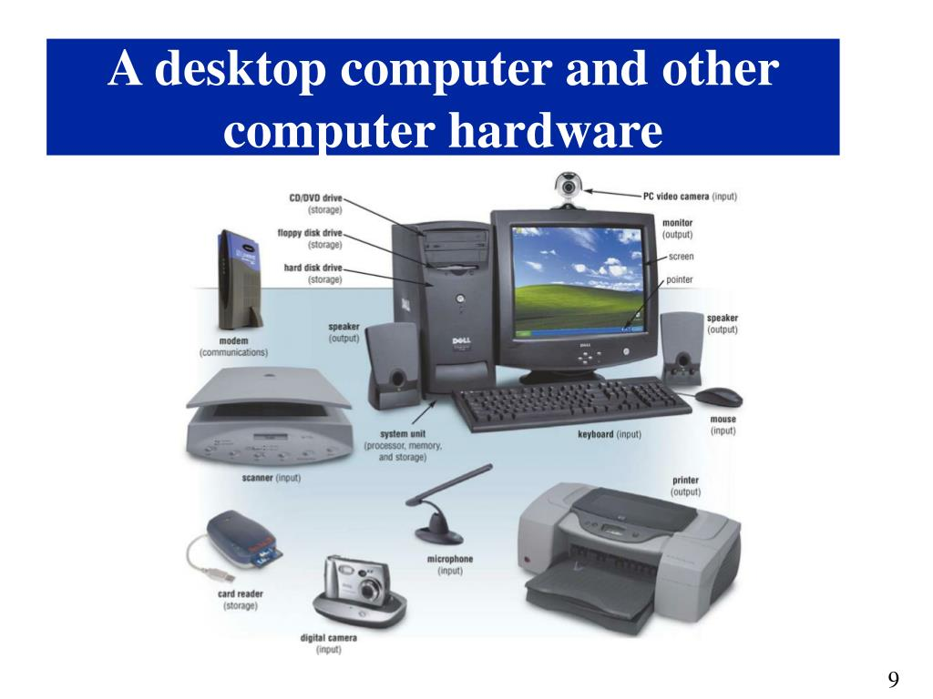 A desktop computer and other computer hardware