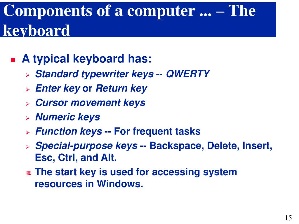 Components of a computer ... – The keyboard