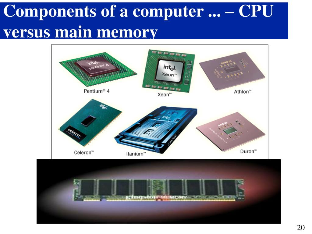 Components of a computer ... – CPU versus main memory