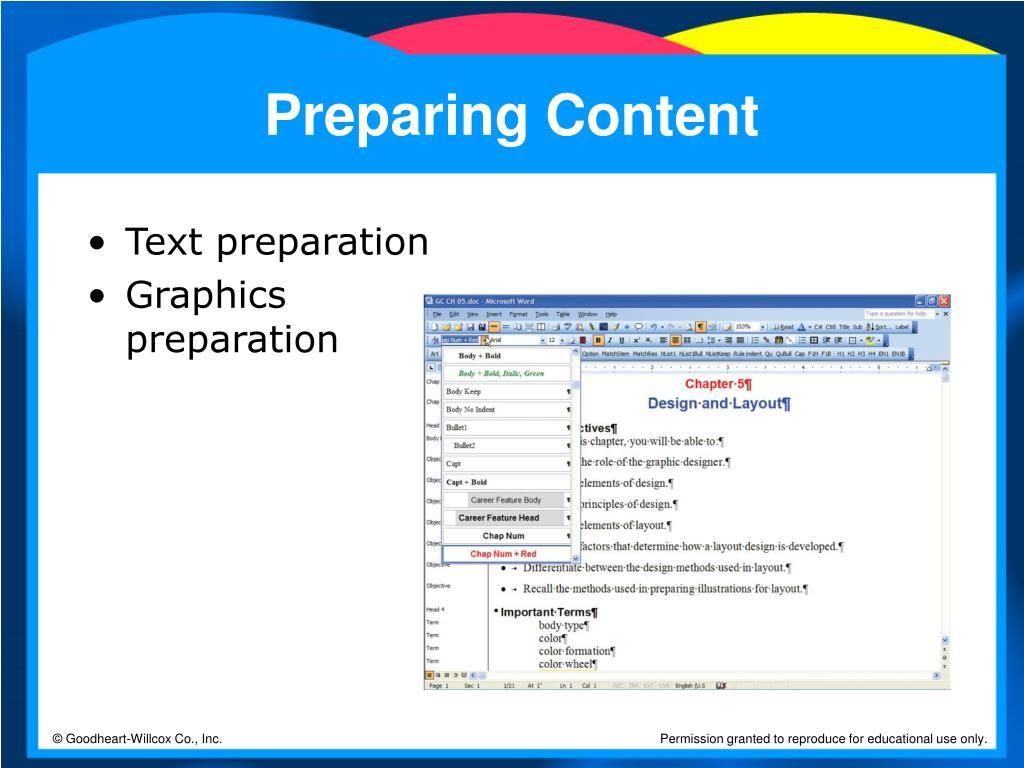 Preparing Content
