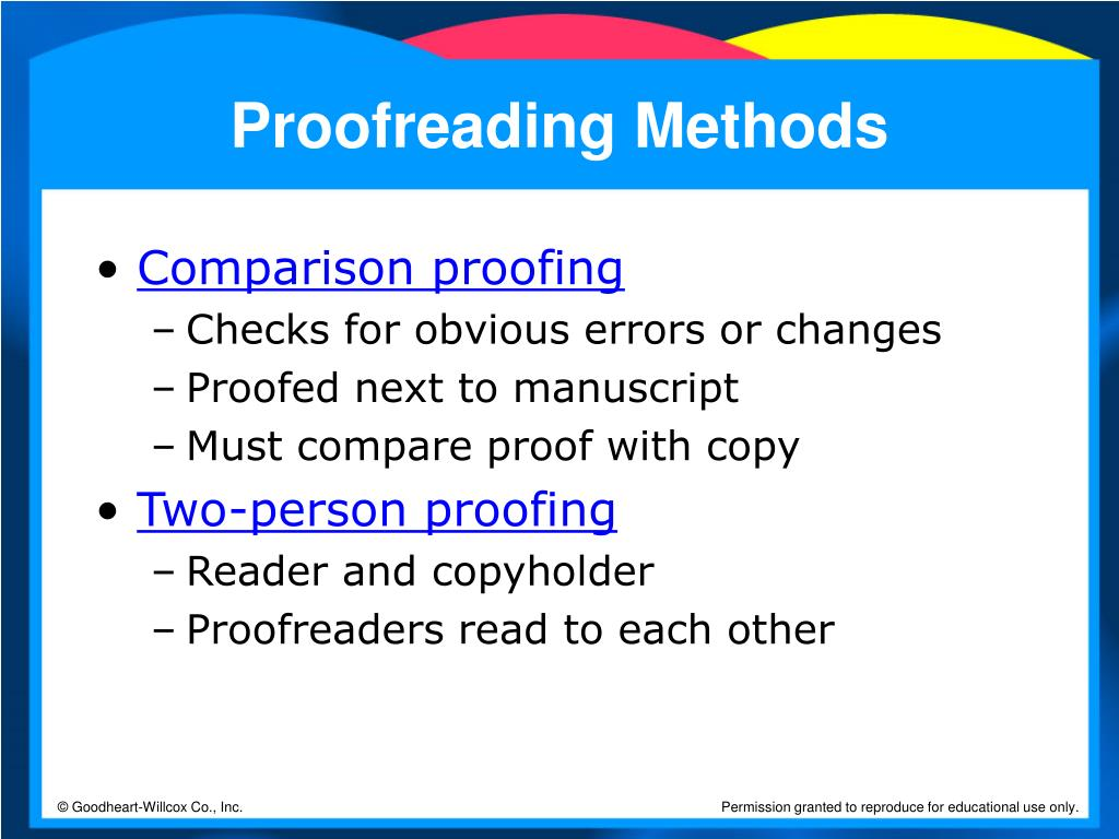 Proofreading Methods