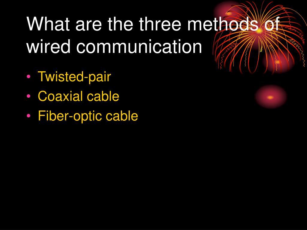 What are the three methods of wired communication