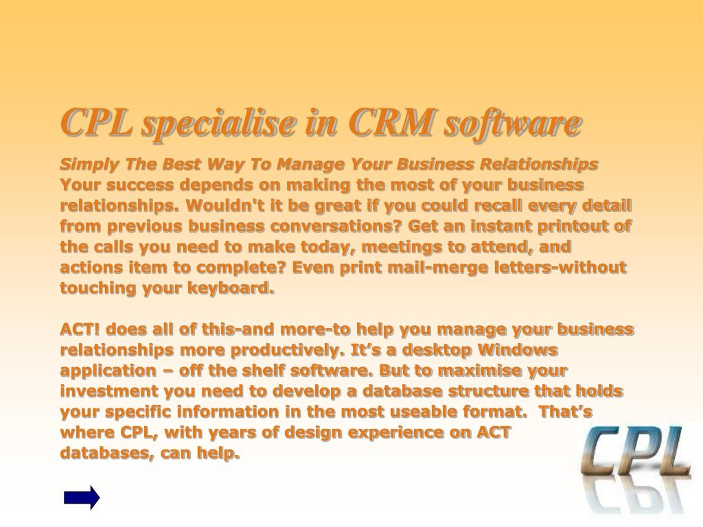 CPL specialise in CRM software