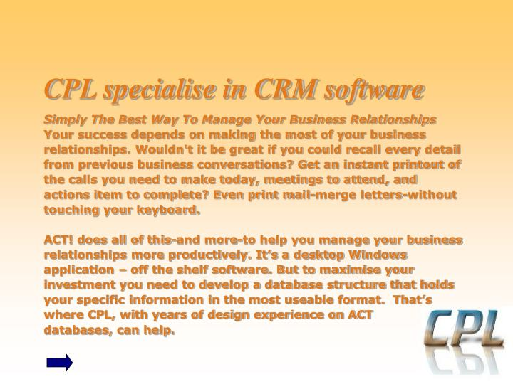 Cpl specialise in crm software l.jpg