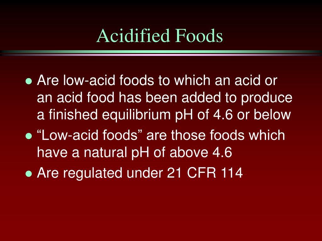 Acidified Foods