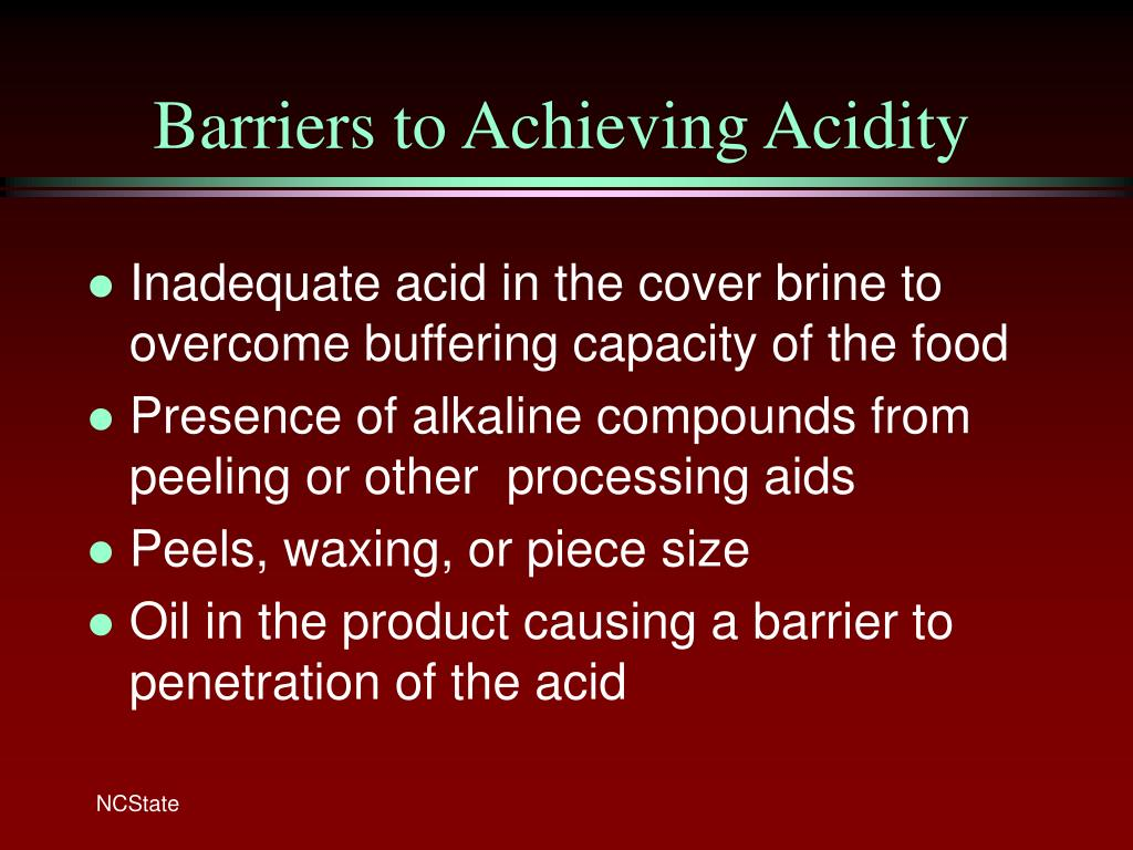 Barriers to Achieving Acidity