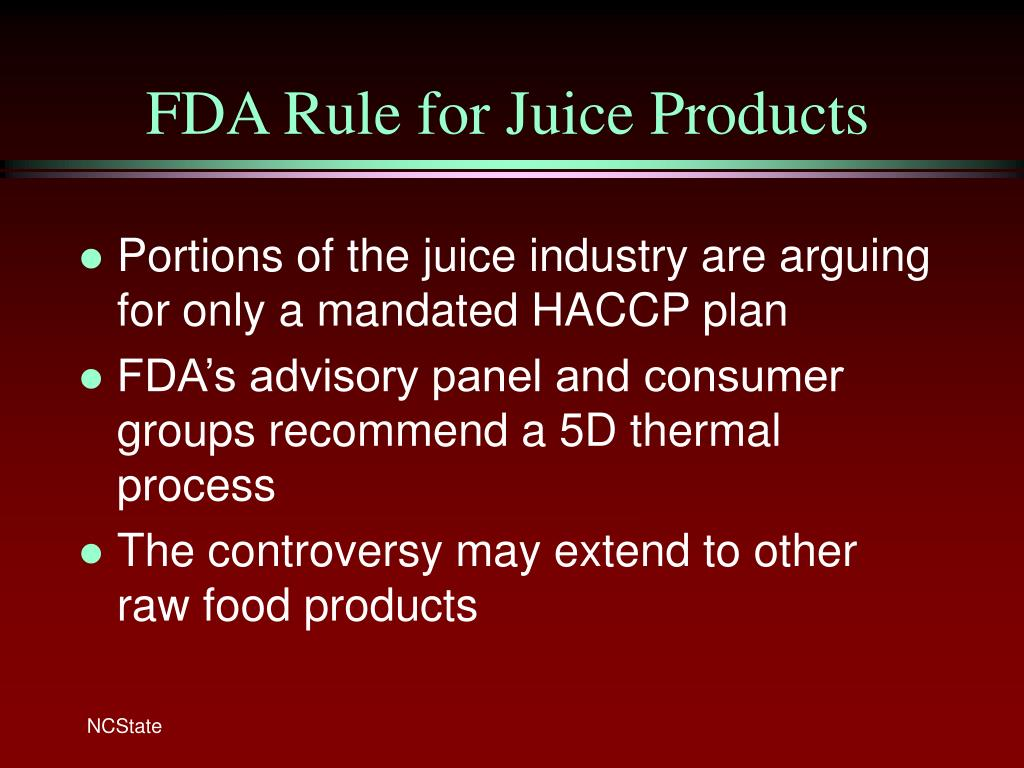 FDA Rule for Juice Products