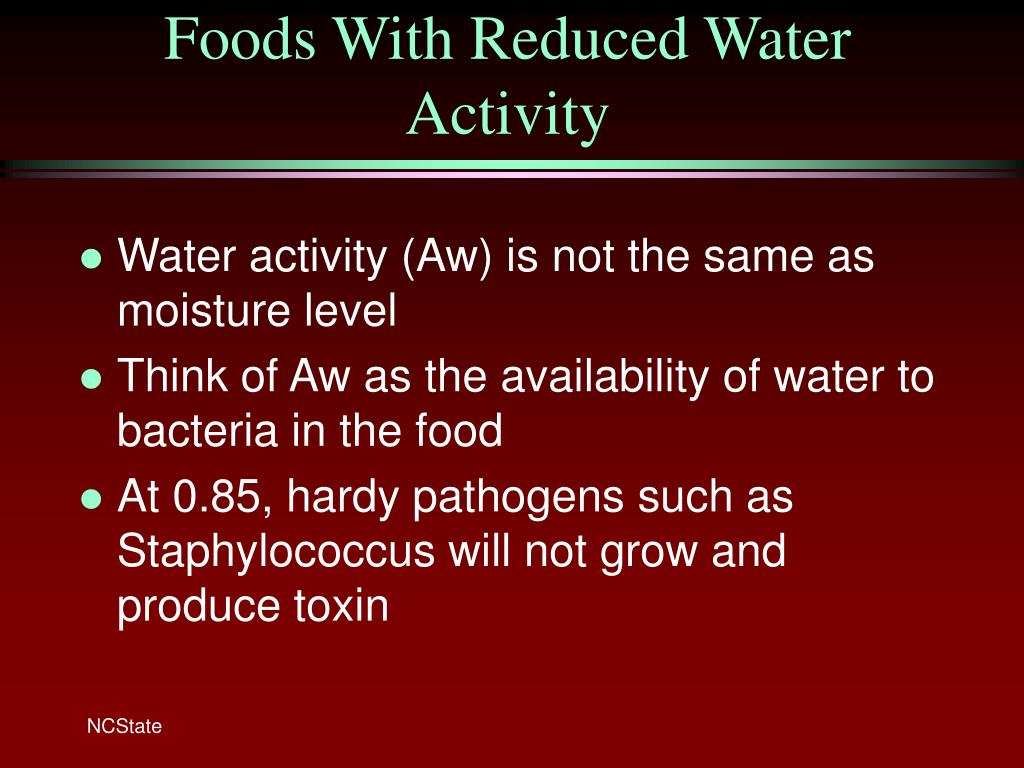 Foods With Reduced Water Activity