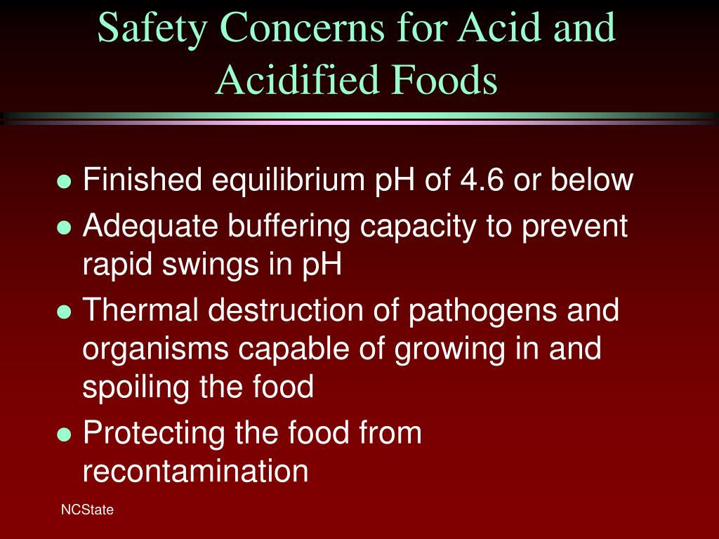 Safety Concerns for Acid and Acidified Foods