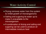 water activity control