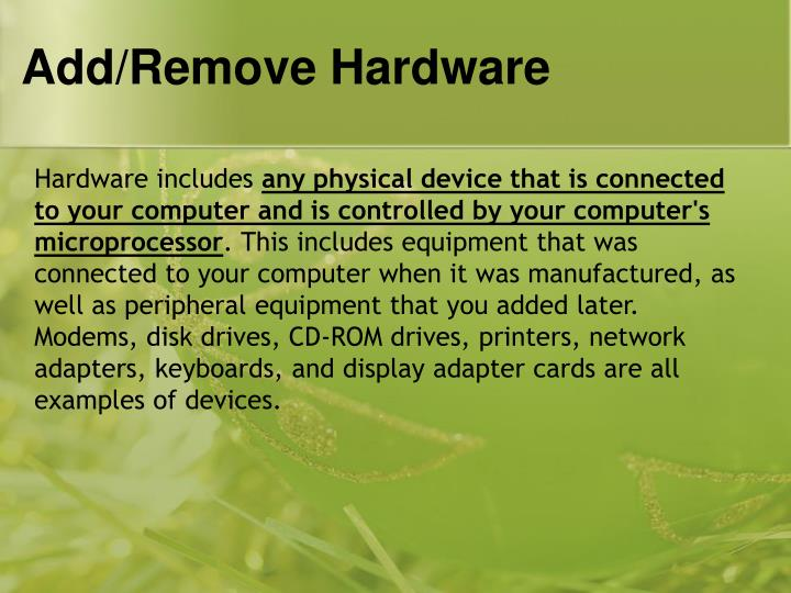 Add remove hardware