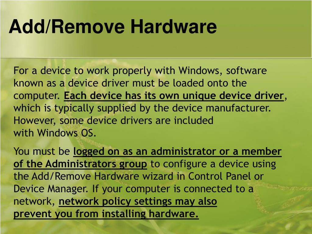 Add/Remove Hardware