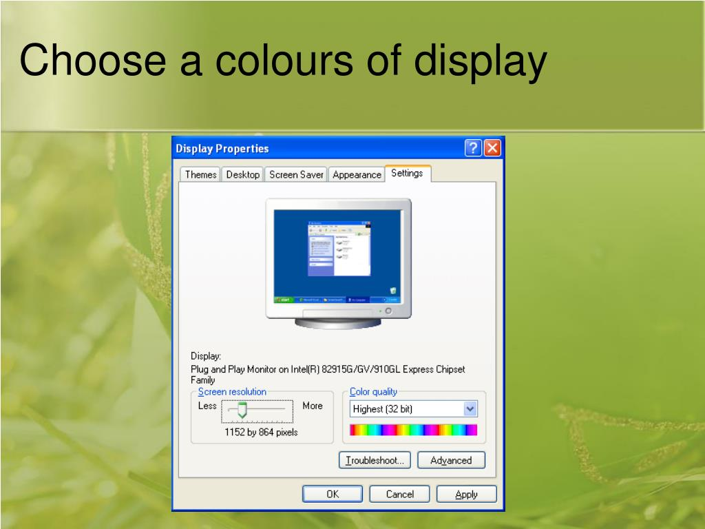 Choose a colours of display