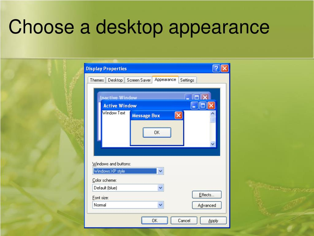 Choose a desktop appearance