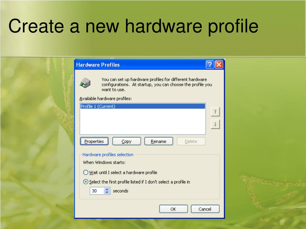 Create a new hardware profile