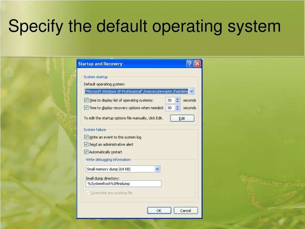 Specify the default operating system
