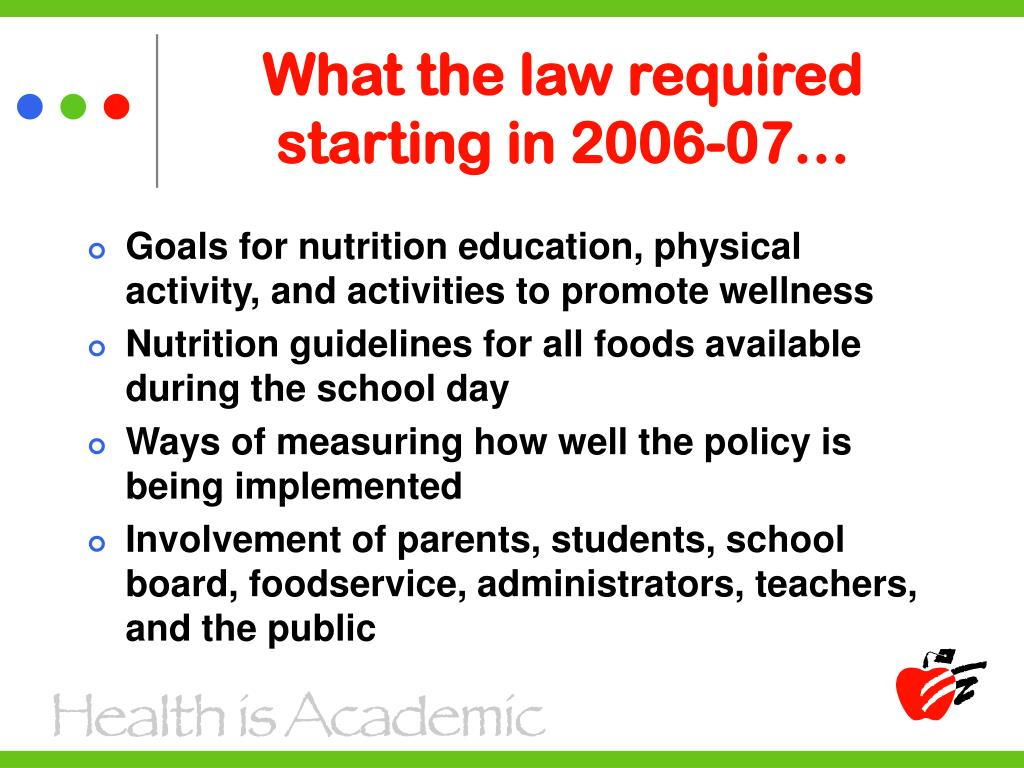 What the law required starting in 2006-07…