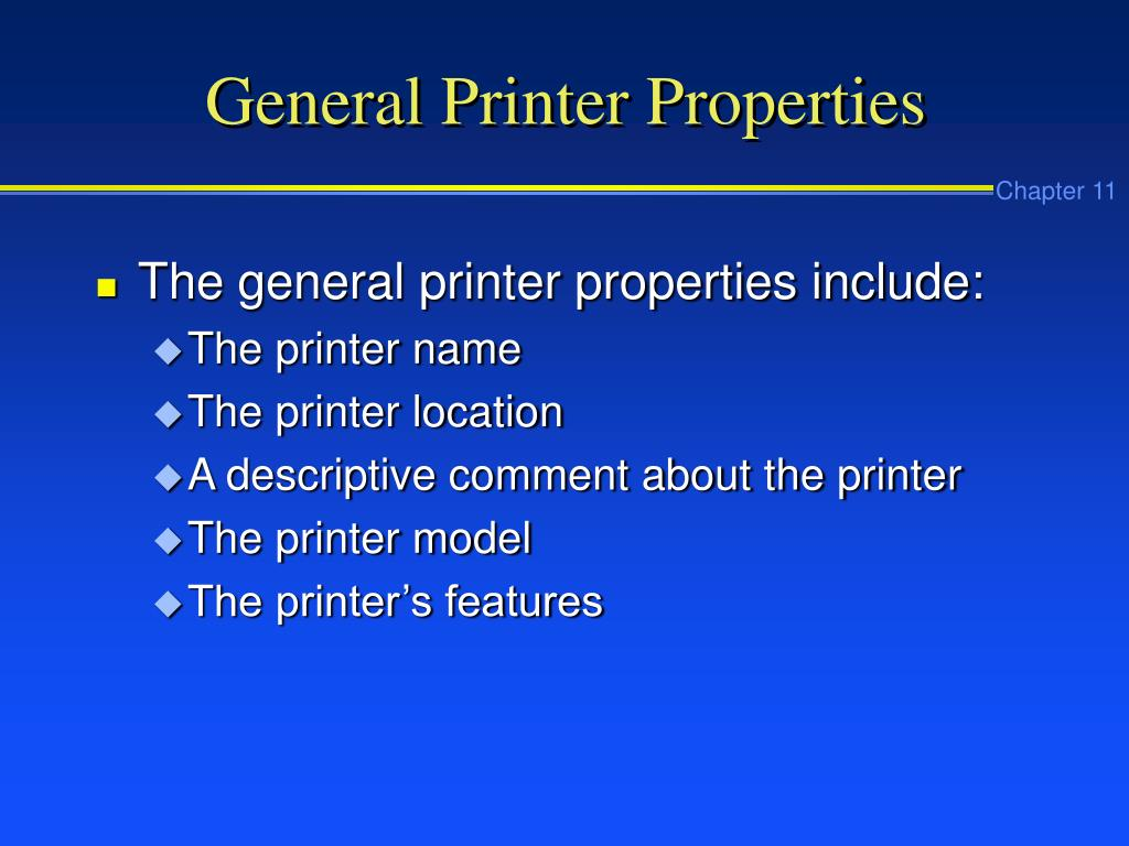 General Printer Properties