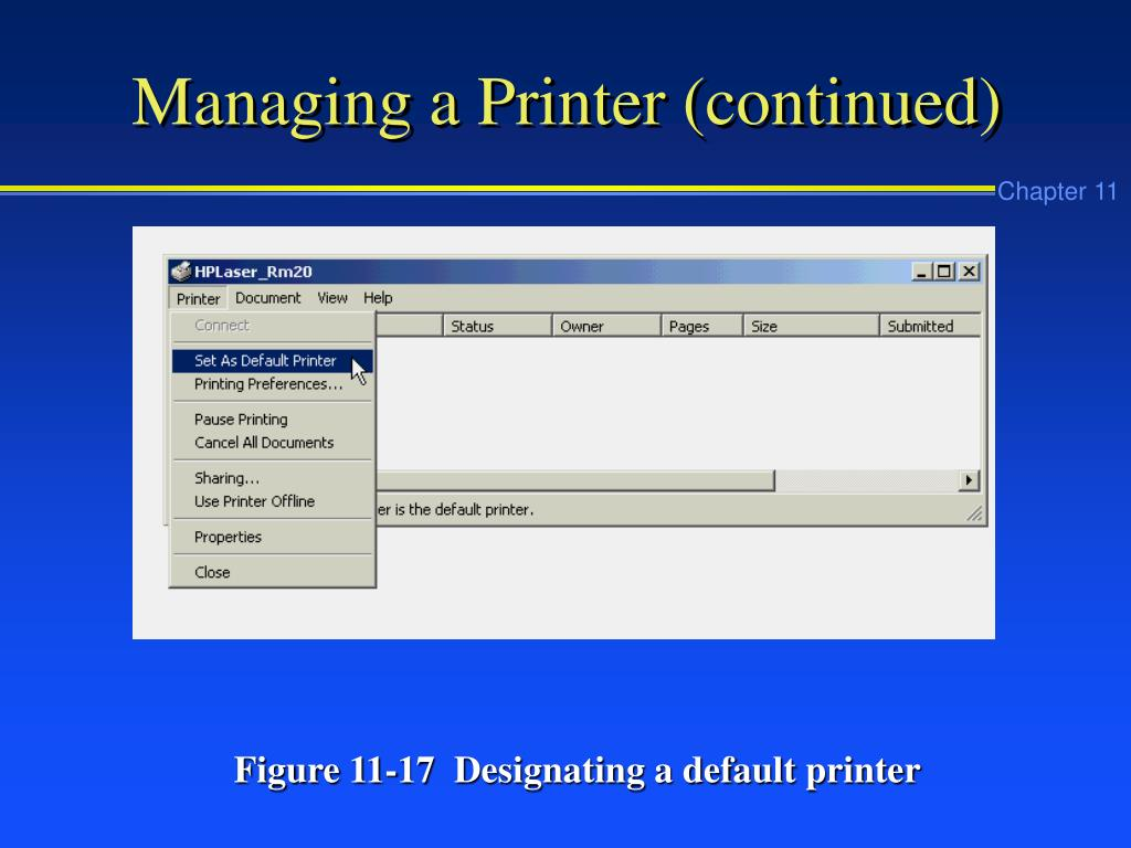 Managing a Printer (continued)