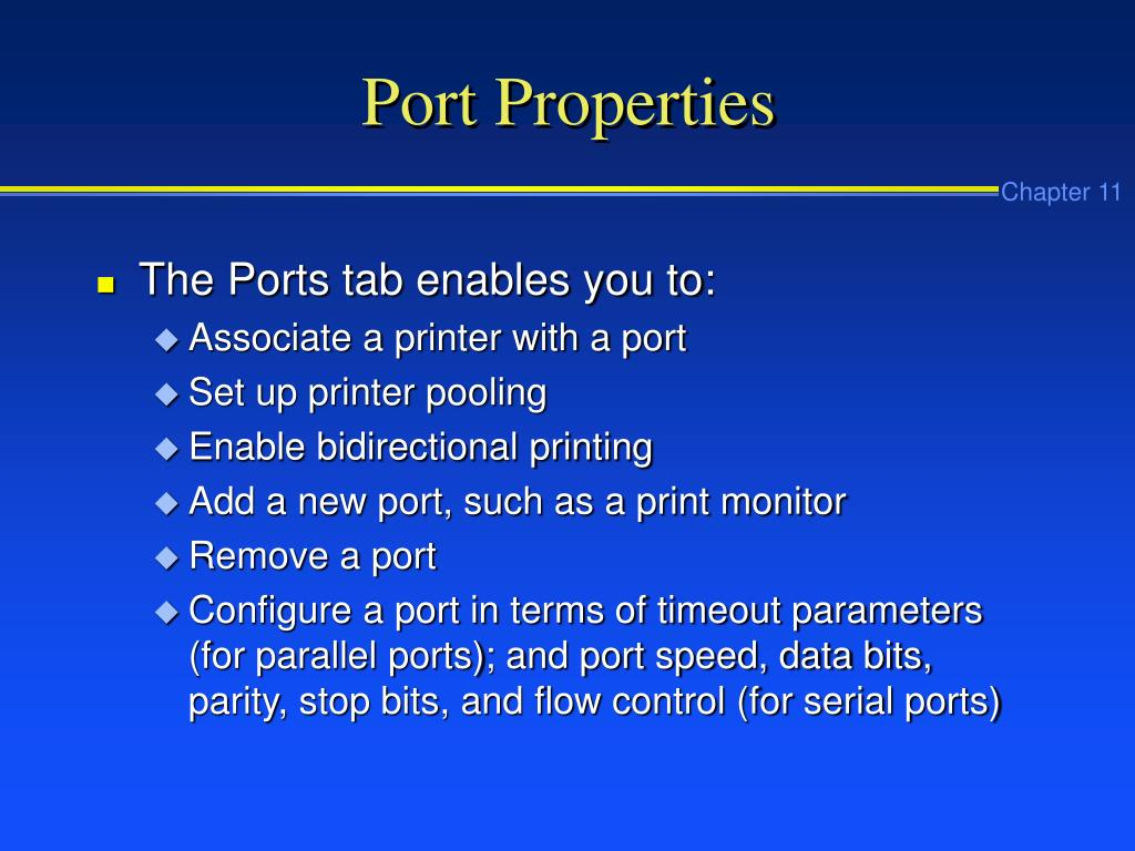 Port Properties
