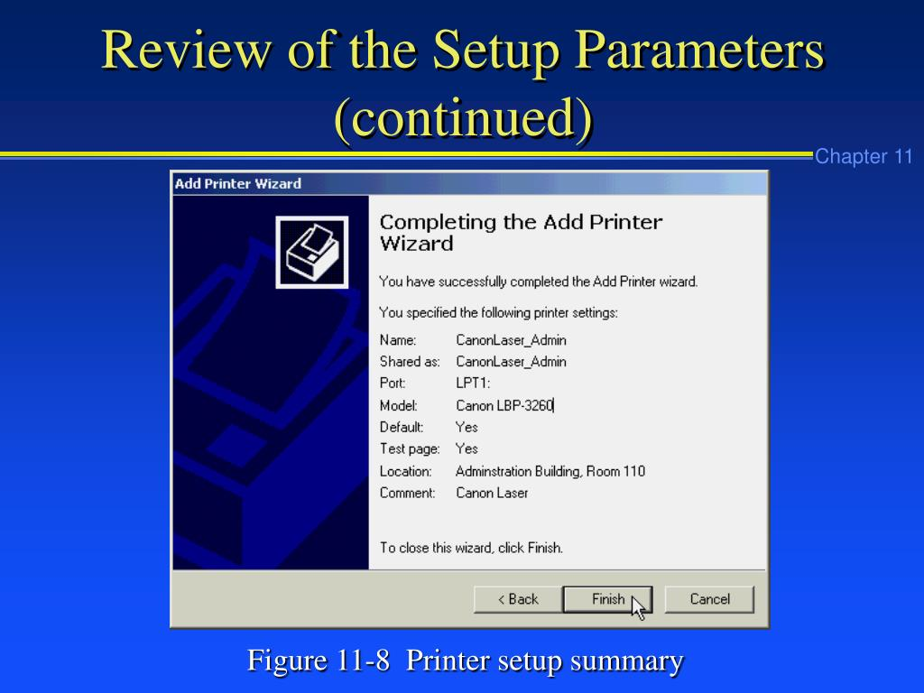 Review of the Setup Parameters (continued)