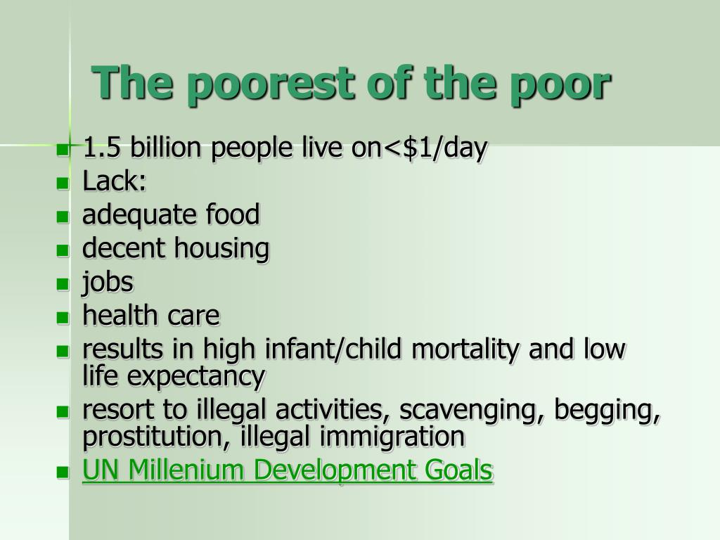 The poorest of the poor