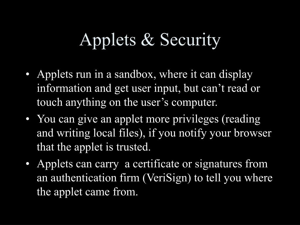 Applets & Security