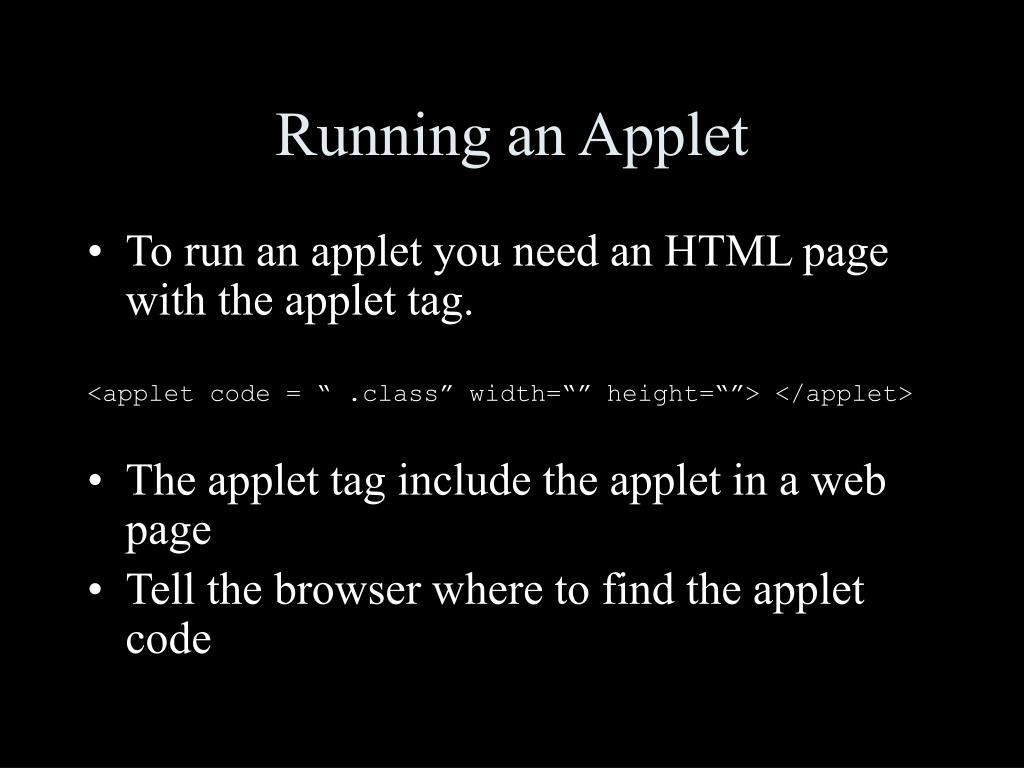Running an Applet