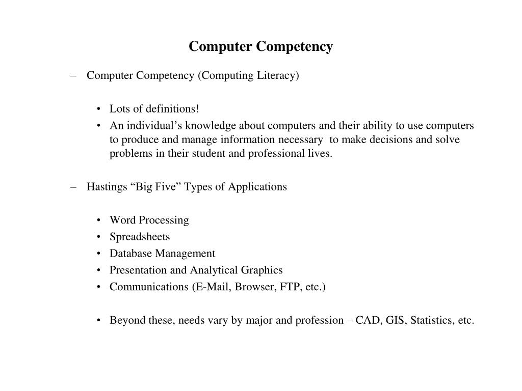 Computer Competency