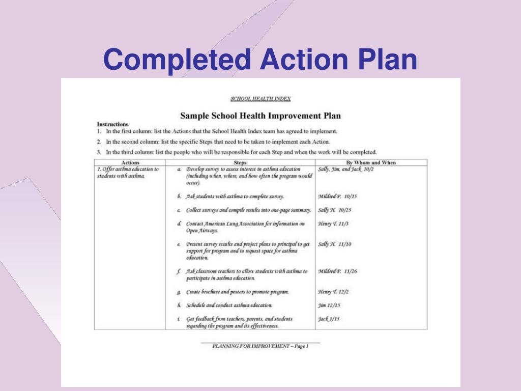 Completed Action Plan