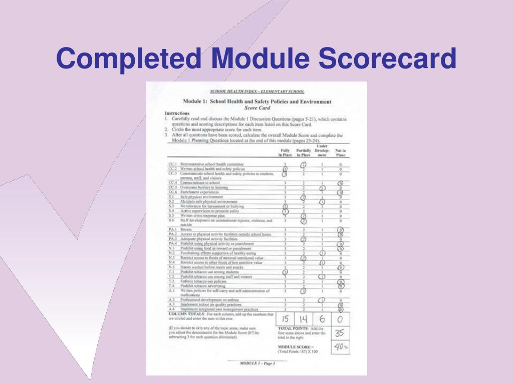 Completed Module Scorecard