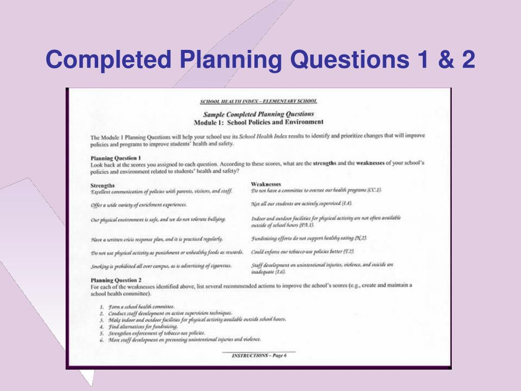 Completed Planning Questions 1 & 2