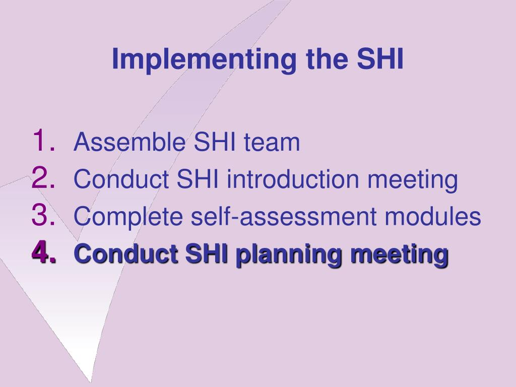 Implementing the SHI