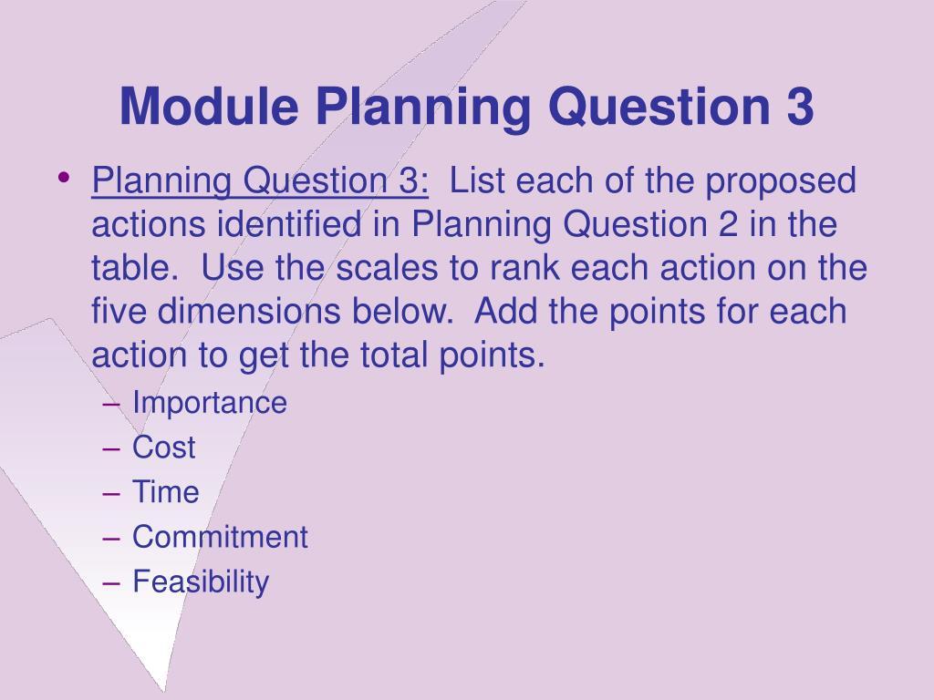 Module Planning Question 3