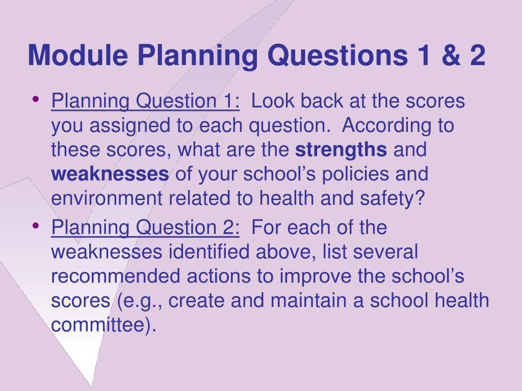 Module Planning Questions 1 & 2