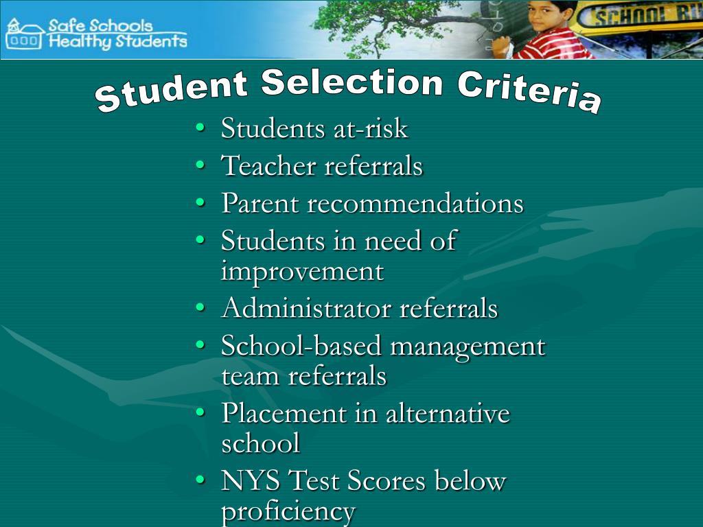 Student Selection Criteria