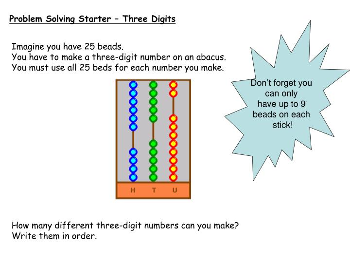 Problem Solving Starter – Three Digits
