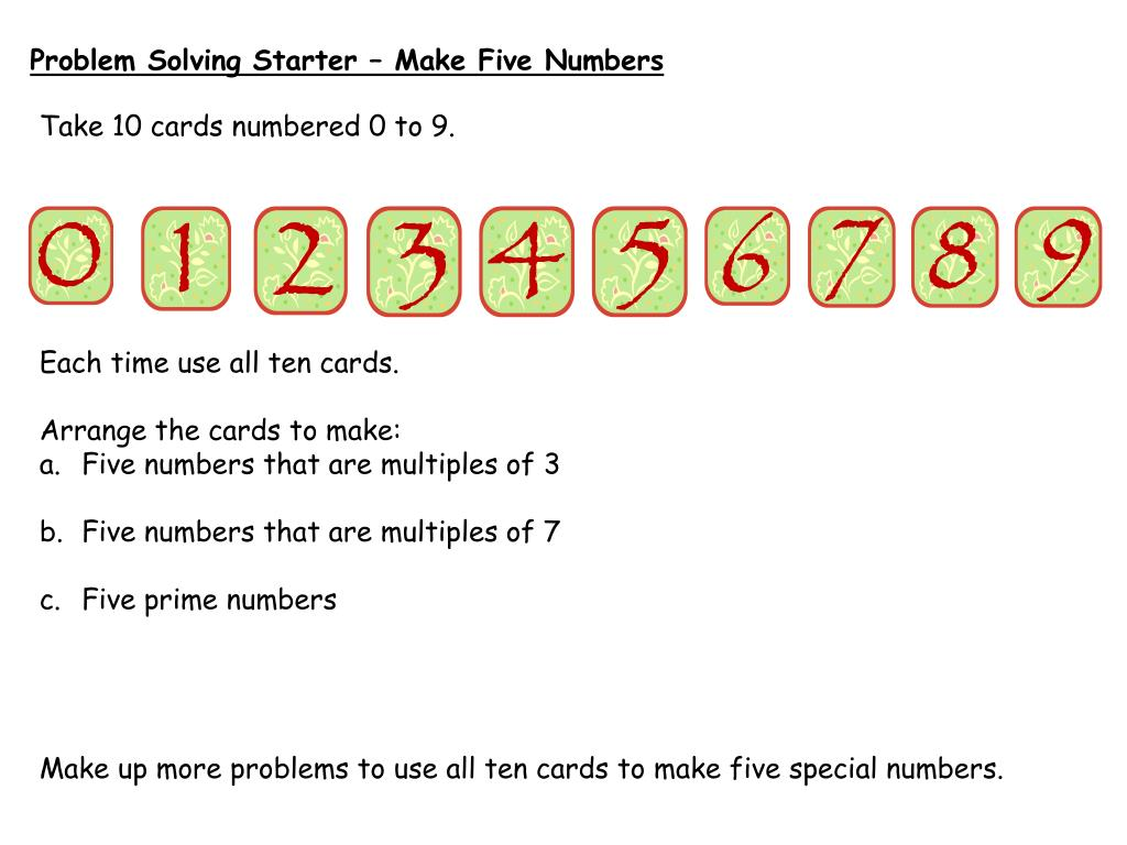 Problem Solving Starter – Make Five Numbers