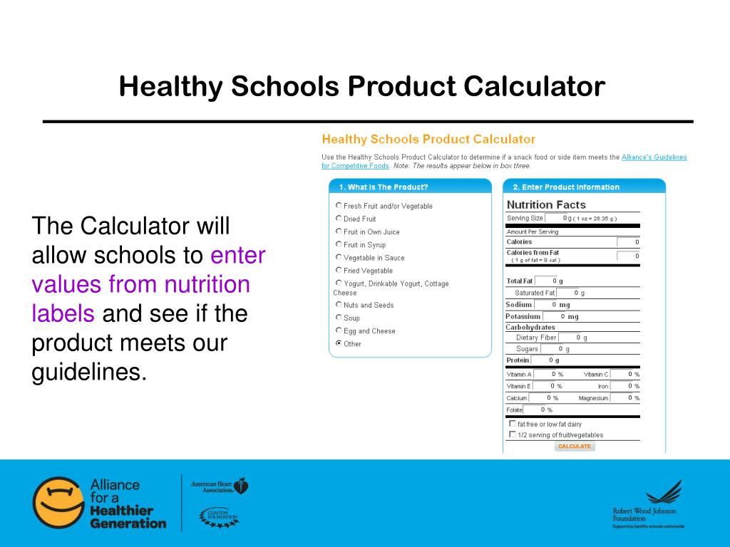 Healthy Schools Product Calculator