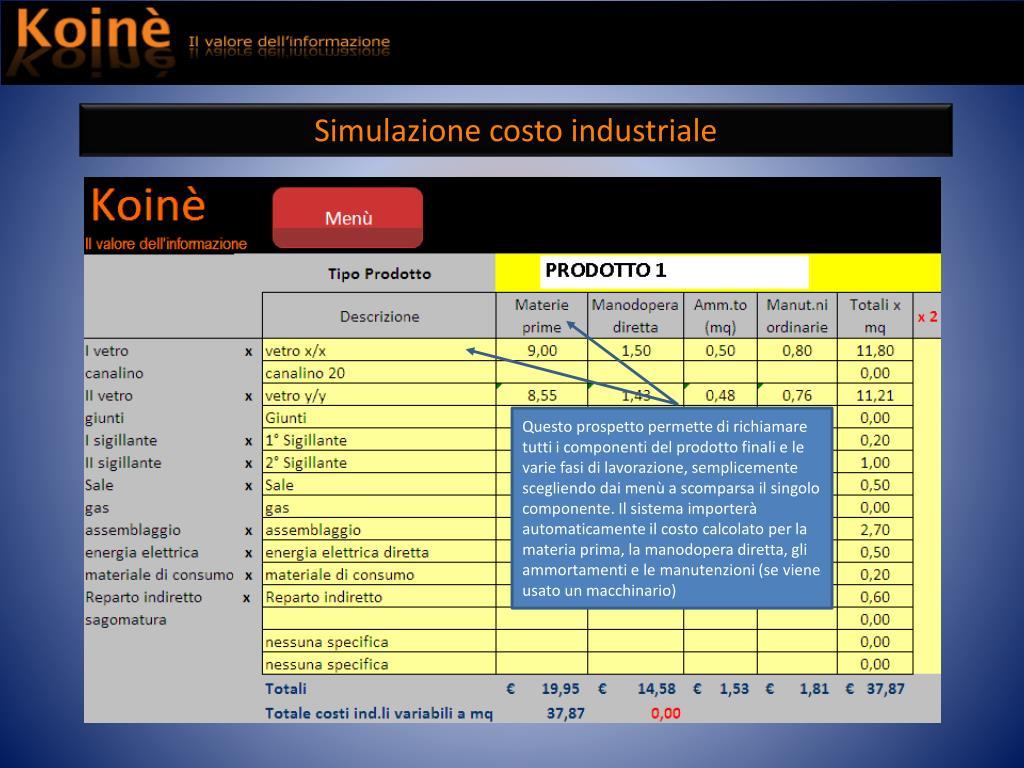Simulazione costo industriale