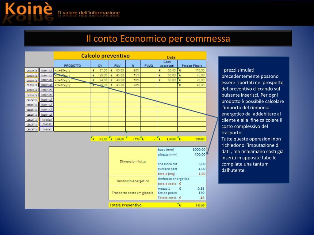 Il conto Economico per commessa