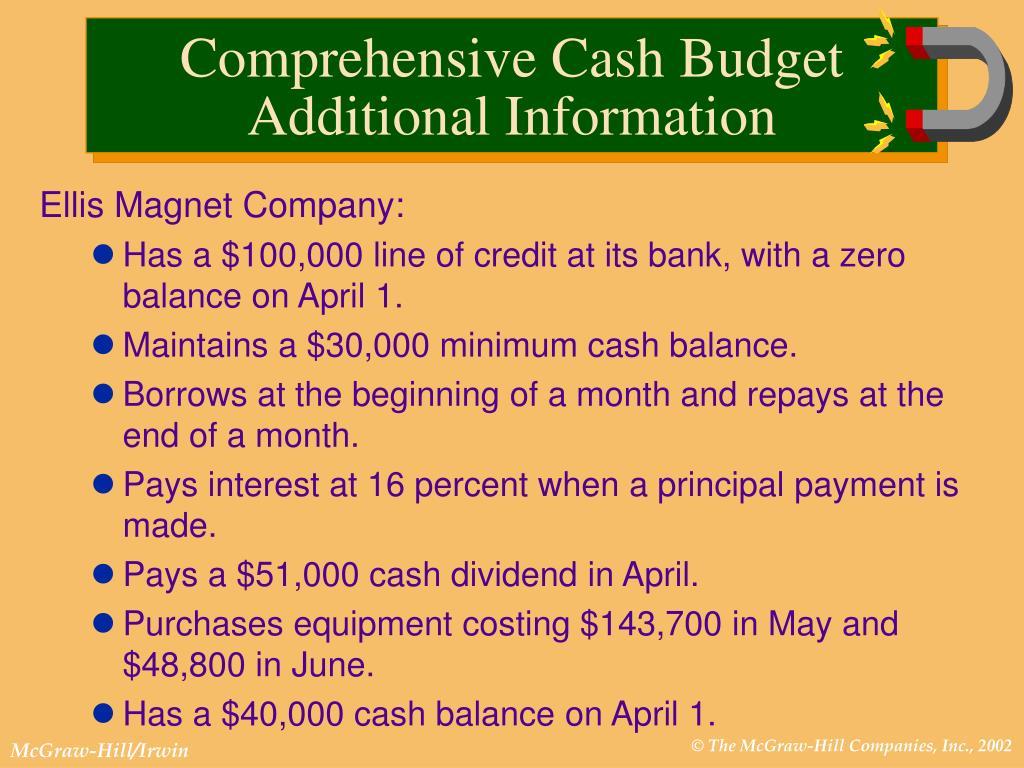 Comprehensive Cash Budget