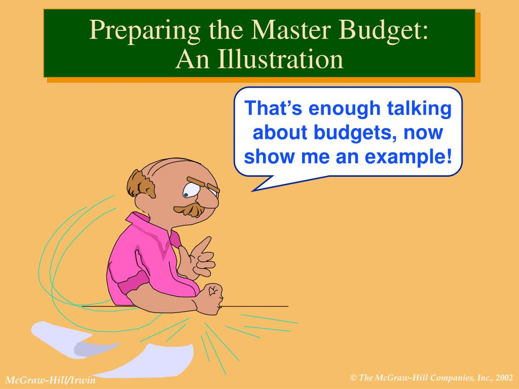 preparing a master budget A master budget contains all of the all businesses share the same major components there is a specific order of completion when preparing a master budget.