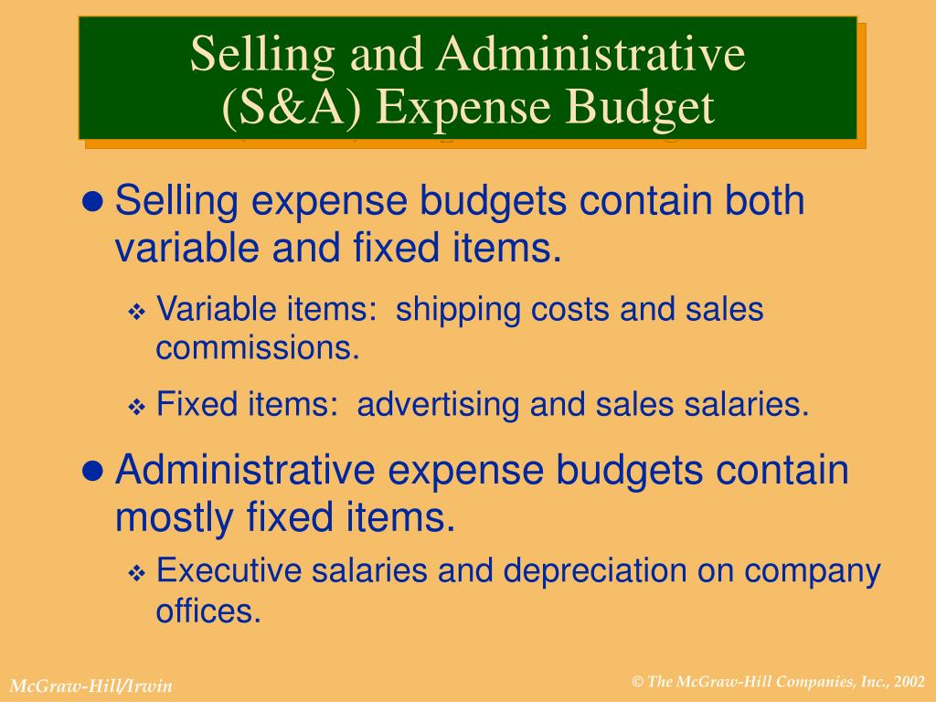 Selling expense budgets contain both variable and fixed items.
