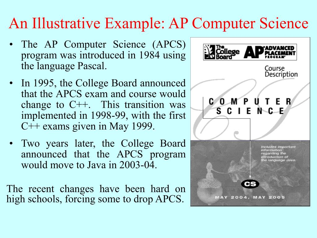 An Illustrative Example: AP Computer Science